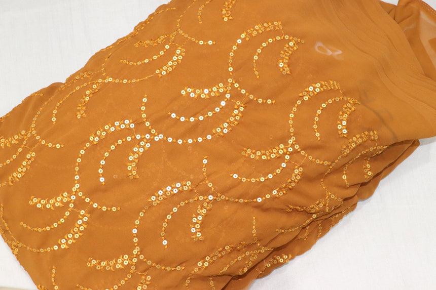 Embroidery On Dark Mustard Colour Foux GEorgette Fabric