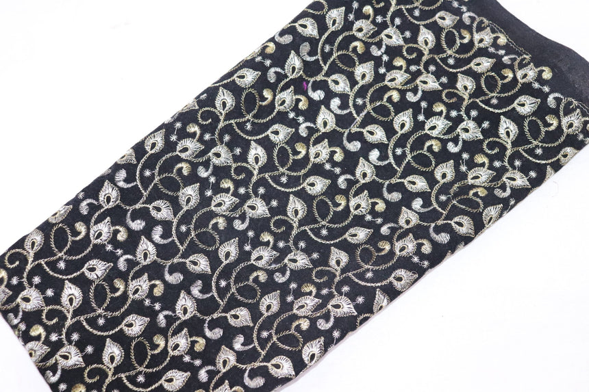 Embroidered Velvet Fabric (0.70 Meter Cut Piece)