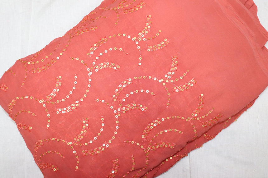 Sequence Embroidery On Peach Colour Faux Georgette Fabric