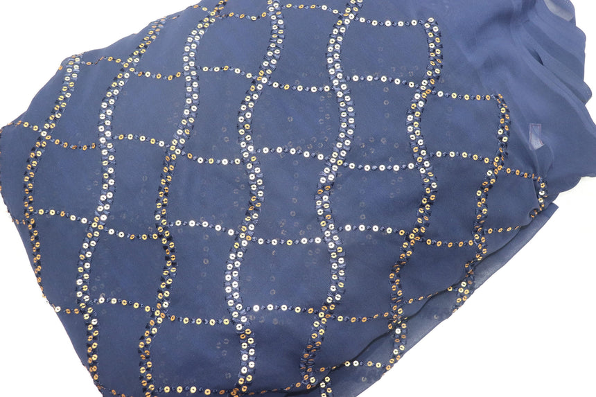 Sequen Embroidery On Navy Blue Colour Foux Georgette Fabric