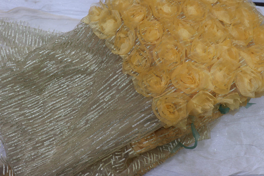 Glitter Work Tissue Flower Embroidery On Imported Net Fabric