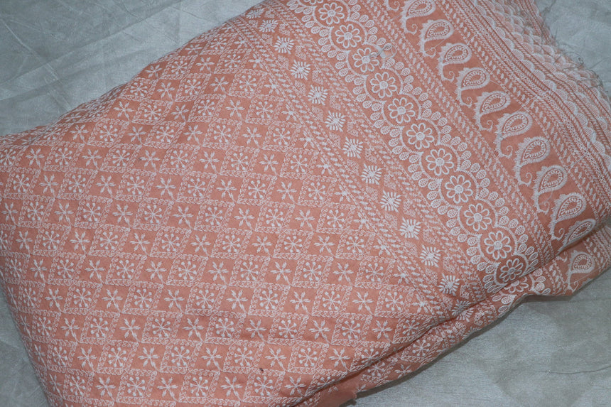 Lucknowi And Chikankari Embroidery On Cotton Fabric