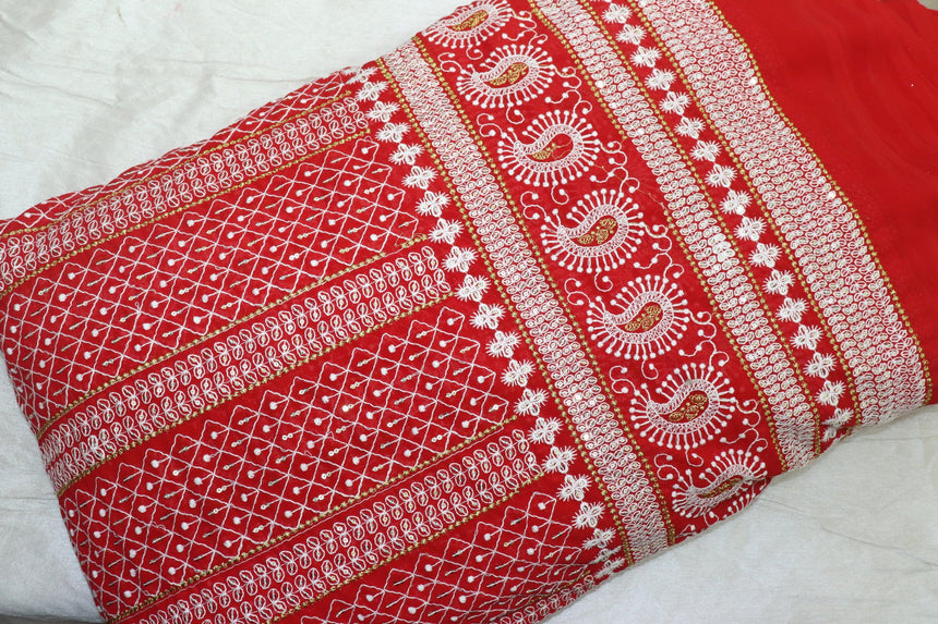 Lucknowi With Sequin embroidery On fox Georgette Fabric