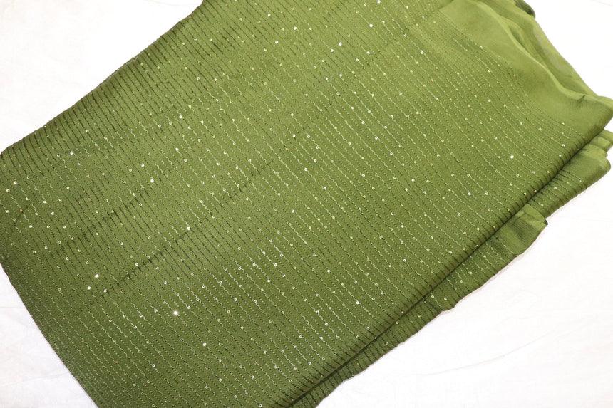 Micro Zero Size Sequin With Resham Thread Embroidery On 100% Pure Chinon Fabric