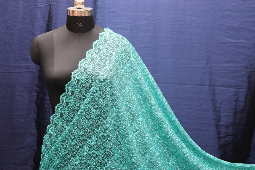 Sea Green Color Double Sided Border Imported Sequin Designer Net Fabric