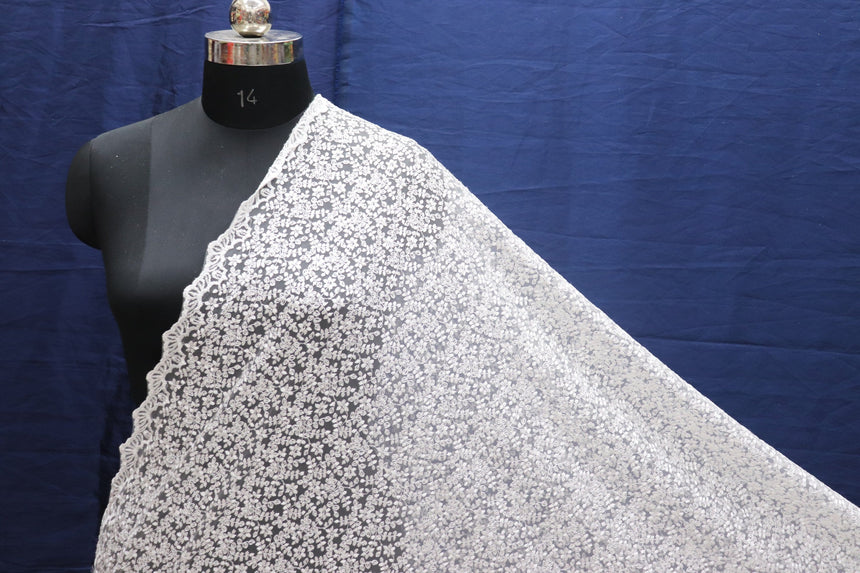 White Color Double Sided Border Imported Sequin Designer Net Fabric