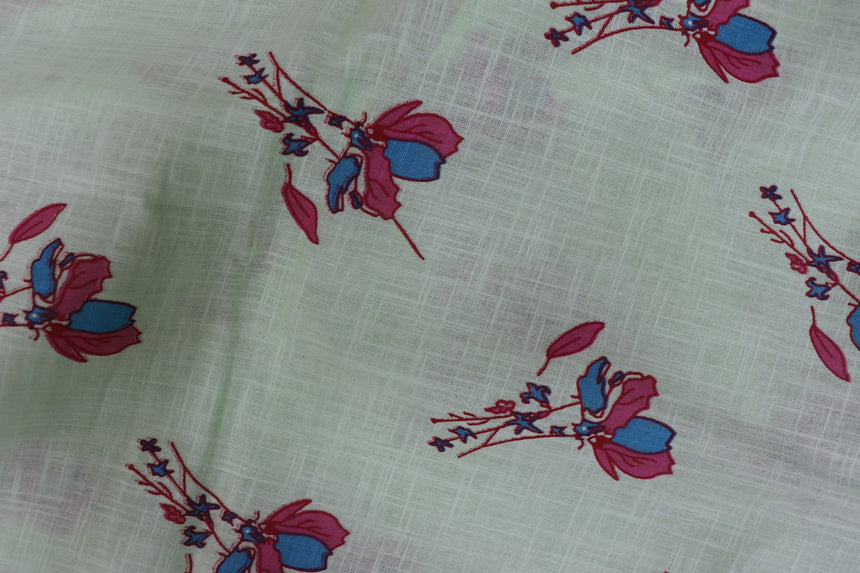 Flower Digital Print Design On Pista Green Color Cotton Cambric In SALE