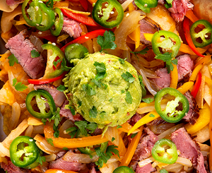 steak nachos with guacamole