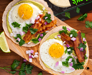 bacon and egg breakfast tostada