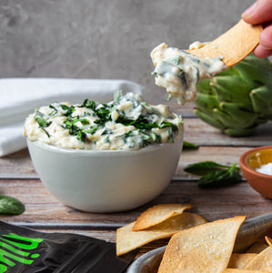 spinach artichoke dip with gluten-free tortilla chips