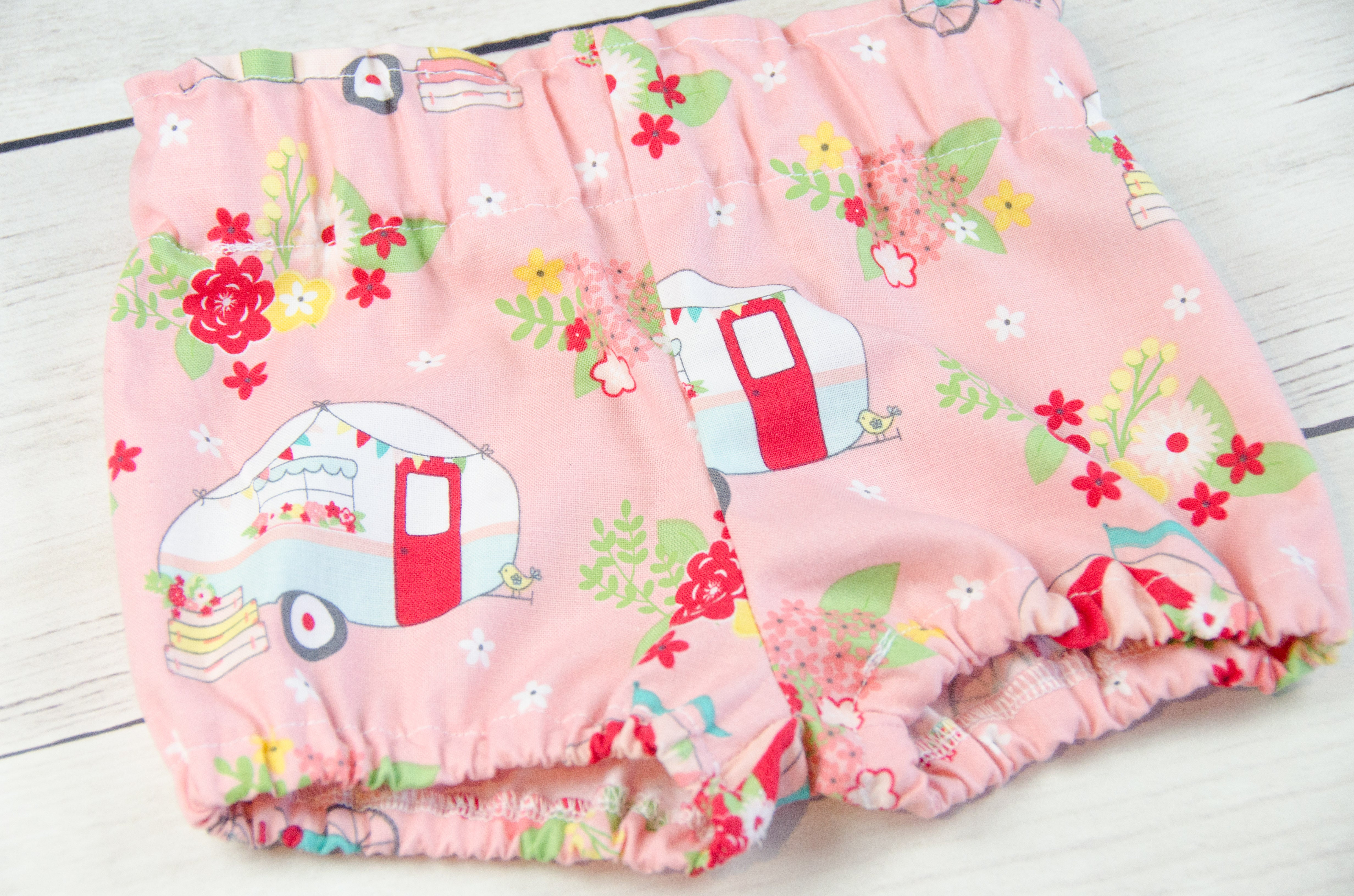 Pink Happy Camper Baby Toddler Bloomers or Skirt Outfit