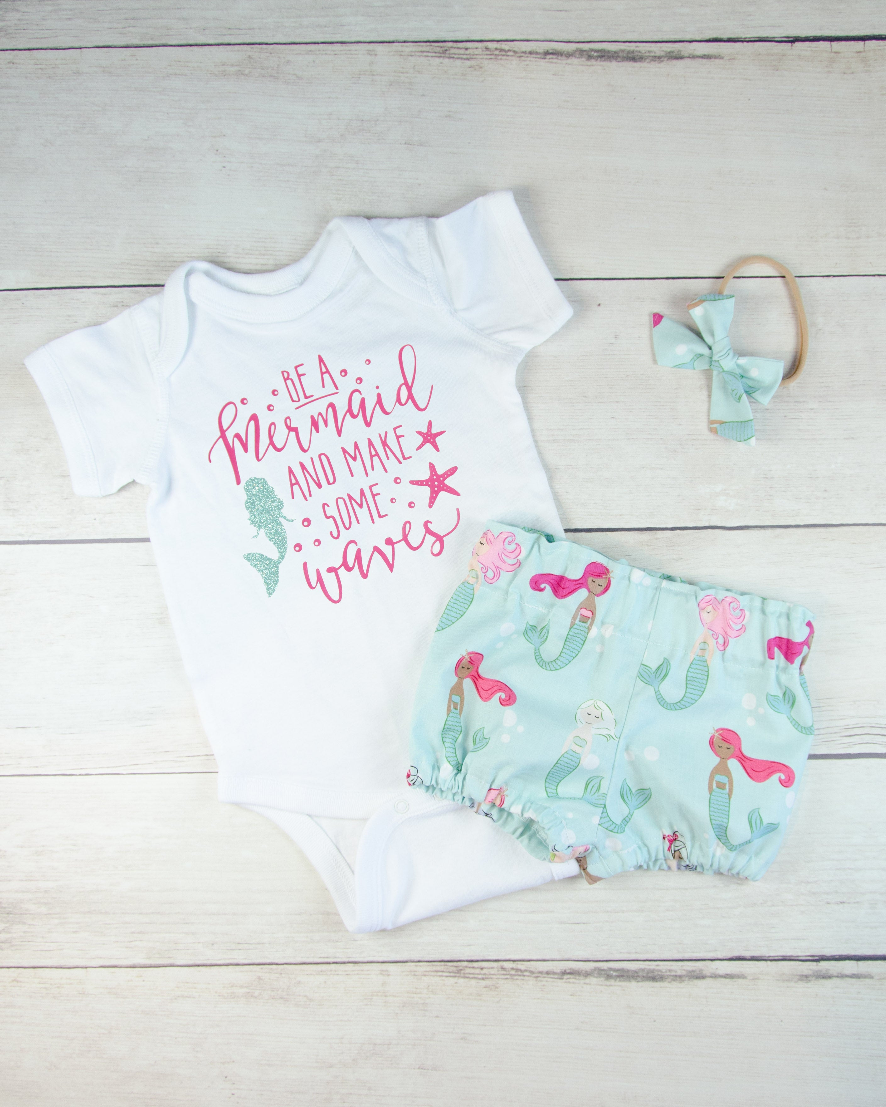 Minty Mermaid Baby Toddler Bloomers or Skirt Outfit