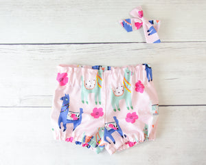 Pink Llama Baby Toddler Bloomers or Skirt Outfit