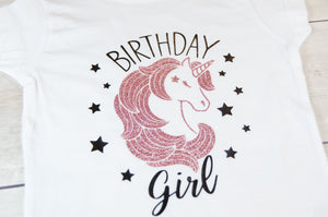 Fitted Unicorn Birthday Girl Toddler T-Shirt