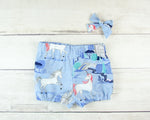 Lavender Unicorns Baby Toddler Bloomers or Skirts