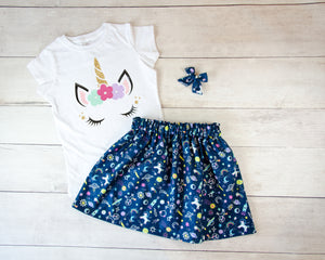 Navy Space Unicorn Baby Toddler Bloomers, Skirt or Pants Outfit