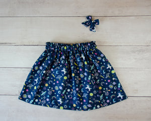 Navy Space Unicorns Baby Toddler Bloomers, Skirt or Pants
