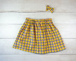Mustard Yellow and Navy Plaid Print Baby Toddler Bloomers or Skirt