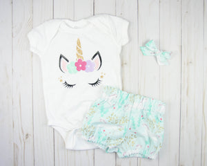 Minty Unicorn Baby Toddler Bloomers or Skirt Outfit