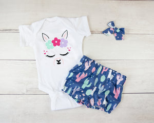 Blue Llama Baby Toddler Bloomers or Skirt Outfit