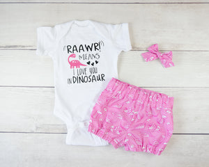 Pink Dinosaur Baby Toddler Bloomers or Skirt Outfit