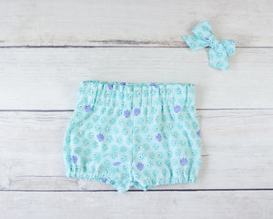 Teal Fish Baby Toddler Bloomers or Skirt Outfit