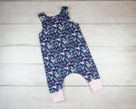 Blue Unicorns Harem Romper Baby Toddler