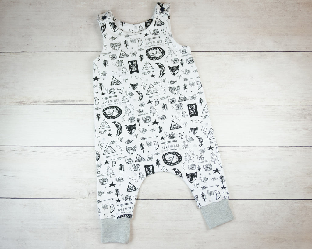 Black and White Camping Harem Romper Baby Toddler
