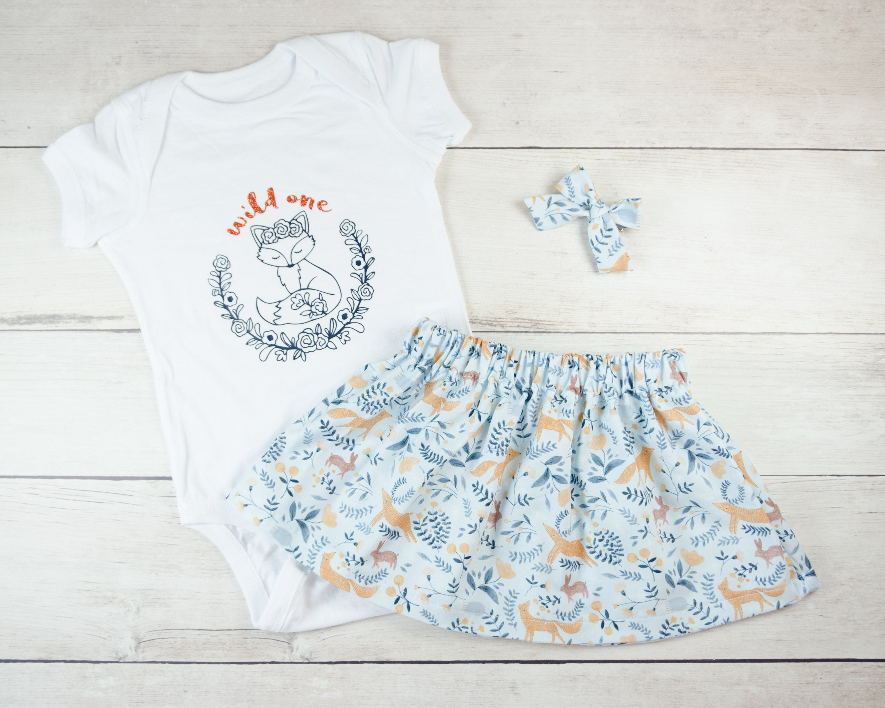 Blue Fox Baby Toddler Bloomers or Skirt Outfit