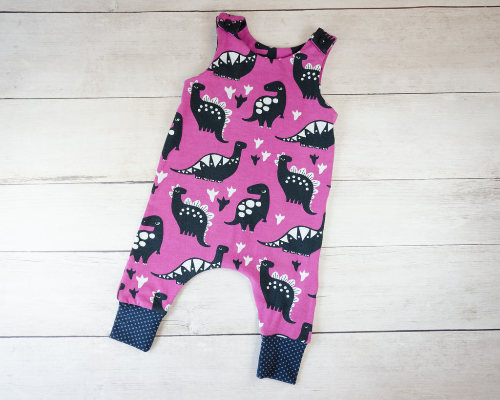 Purple Dinosaurs Harem Romper Baby Toddler