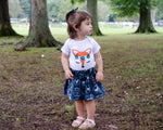Dark Blue Wild One Fox Face Baby Toddler Bloomers or Skirt Outfit