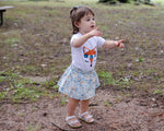 Blue Fox Face Baby Toddler Bloomers or Skirt Outfit