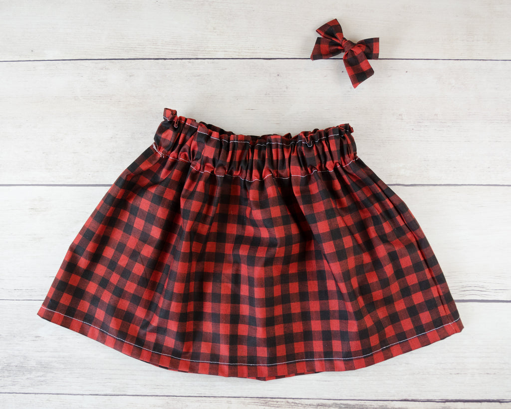 Red and Black Plaid Print Baby Toddler Bloomers or Skirt