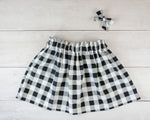 Black and White Plaid Print Baby Toddler Bloomers or Skirt