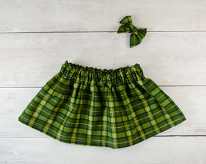 Green Plaid Print Baby Toddler Bloomers or Skirt