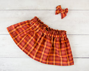 Orange Plaid Print Baby Toddler Bloomers or Skirt