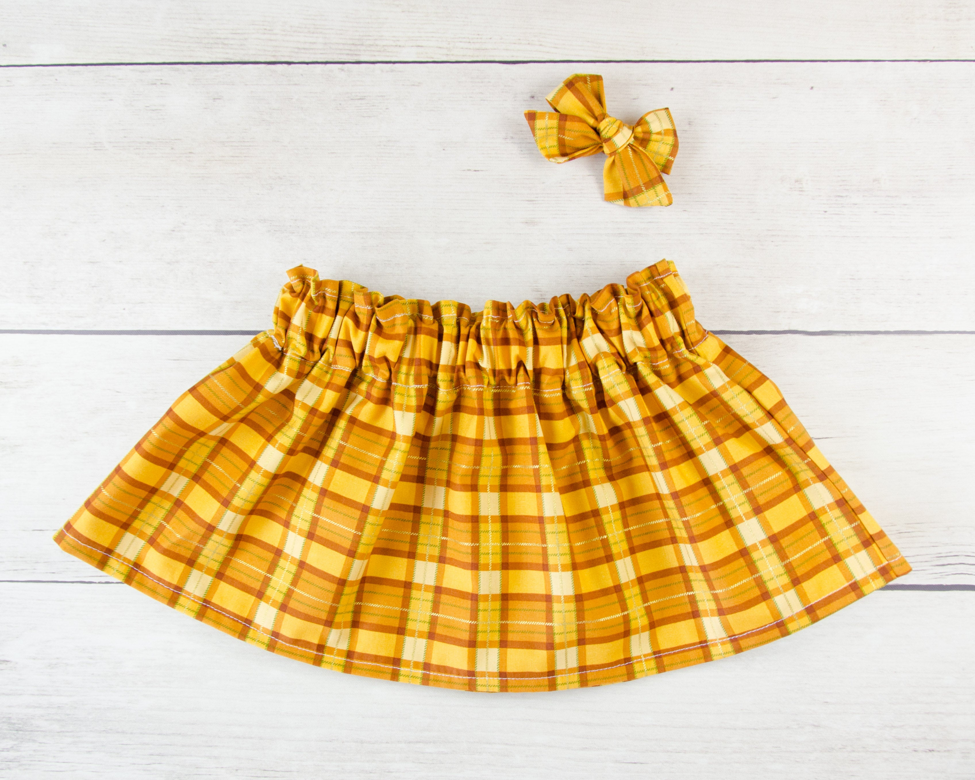Golden Yellow Plaid Print Baby Toddler Bloomers or Skirt