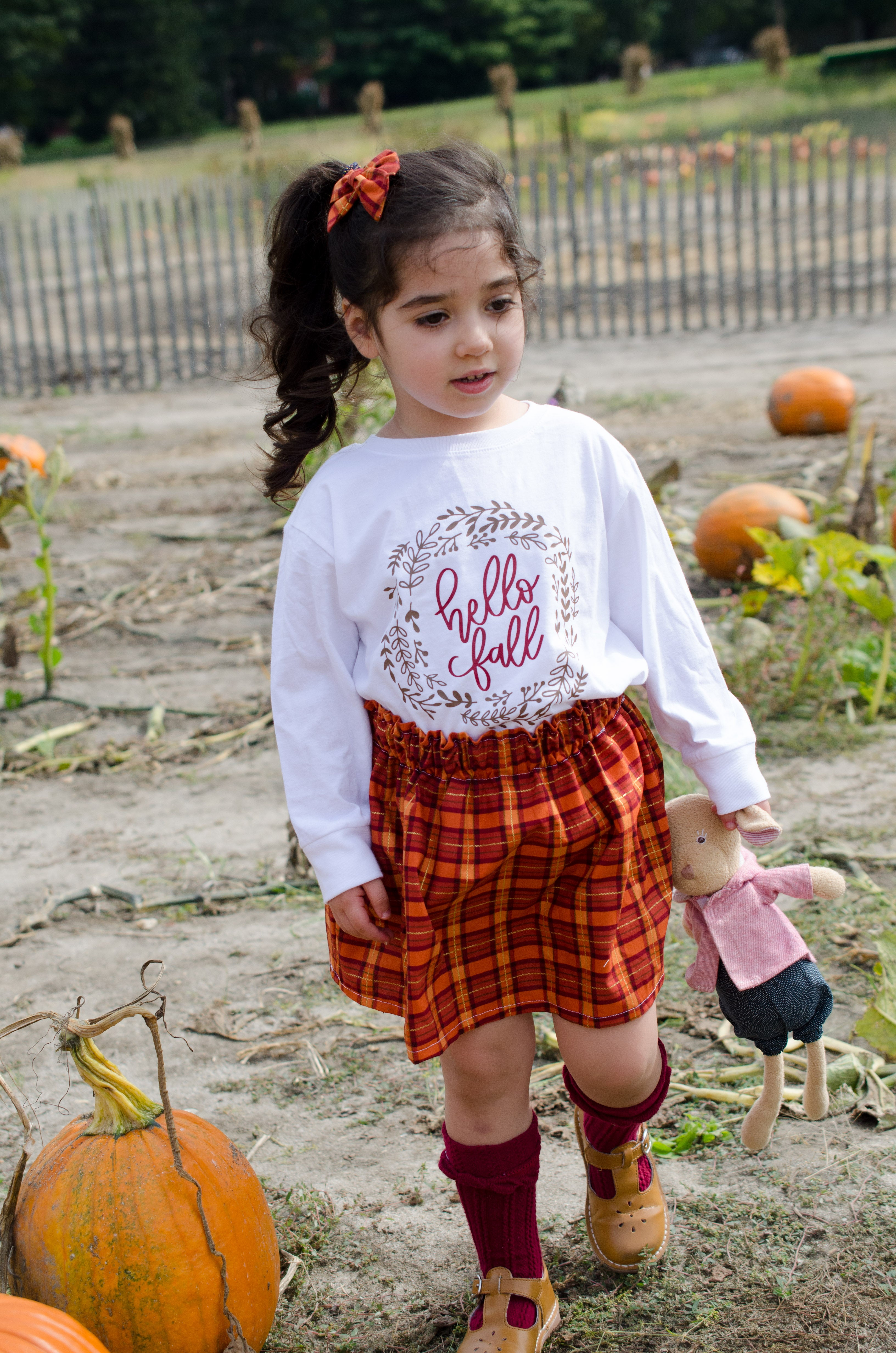Hello Fall Baby Toddler Bloomers or Skirt Outfit