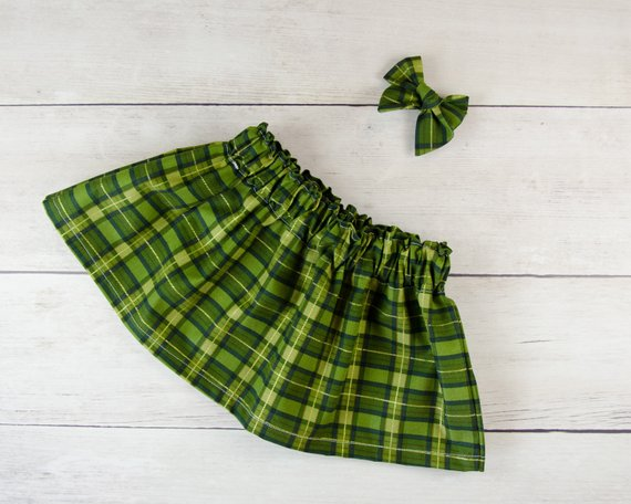 I'm Elf Size and Green Plaid Baby Toddler Bloomers or Skirt Outfit