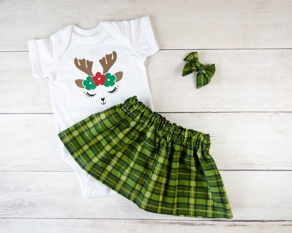 Reindeer Face and Green Plaid Baby Toddler Bloomers or Skirt Outfit
