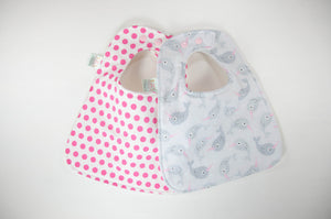 Narwhal and Polka Dot Baby Bib