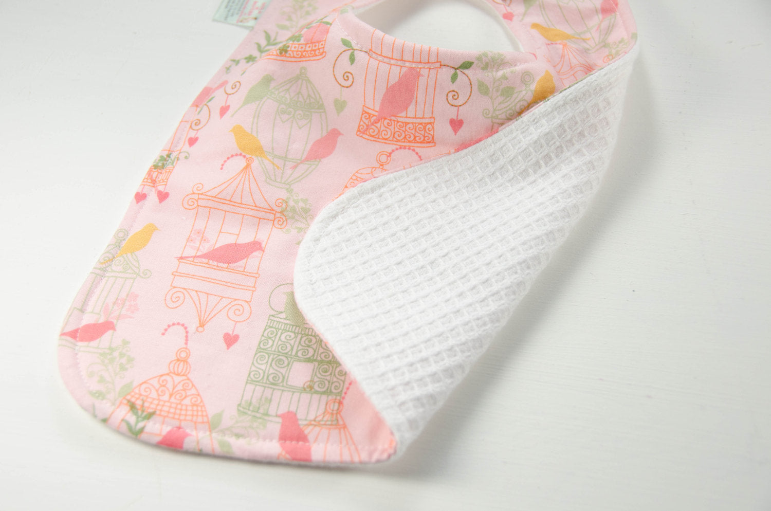 Handmade Bib - Baby Girl Bib - Pink Baby Bib- Birdcages Baby Bib - Birds Baby Bib - Toddler Bib - Baby Shower Gift - New Mom Gift