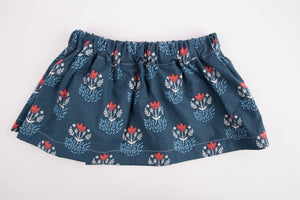 Red and Blue Floral Baby Toddler Skirt