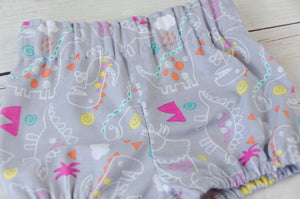 Grey Dinosaur Baby Toddler Bloomers, Skirt or Pants