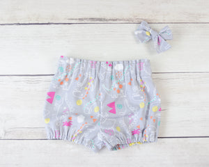 Grey Dinosaur Baby Toddler Bloomers or Skirt