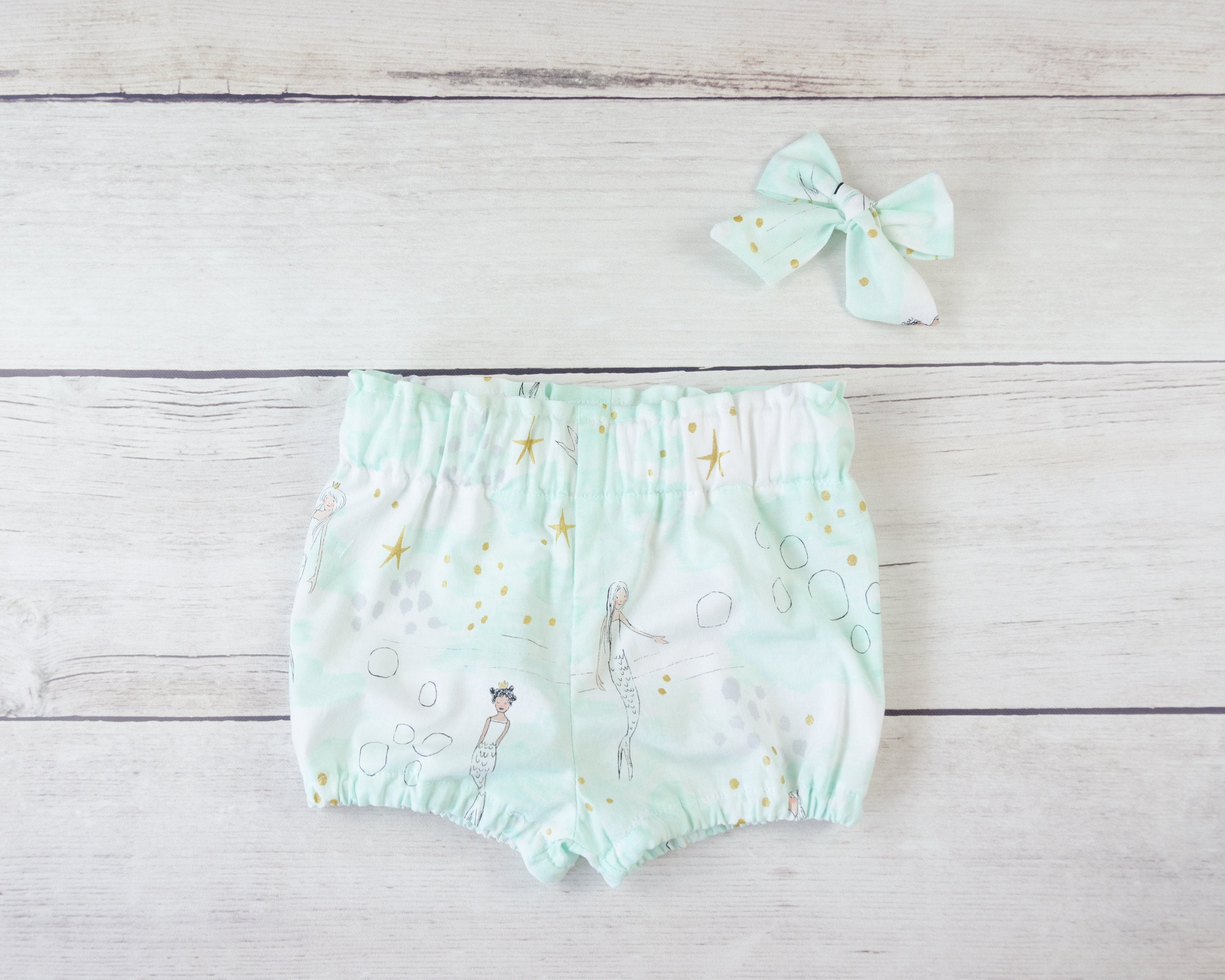 Minty Mermaid Baby Toddler Bloomers or Skirt