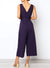 Navy V Neck Button Front Tie Jumpsuit