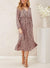 Sweet Dusty Pink With Black Speckle Midi Dress