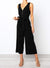 Elegant V-Neck Sleeveless Plain Jumpsuit With Waistband