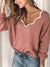 Women's Fashion Multicolor Neckline Pure Color Sweater